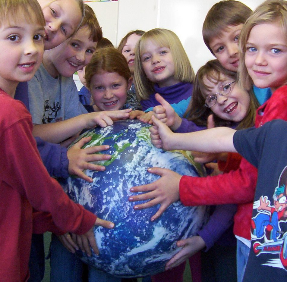 Kids with Globe in Class
